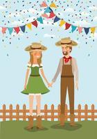 coppia di agricoltori che celebra con ghirlande e recinzione vettore