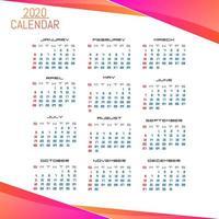 Modello di calendario semplice stile aziendale 2020