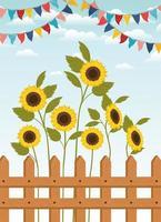 Festa Junina con recinzione e giardino di girasoli vettore