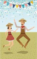 coppia di contadini festeggia con ghirlande vettore