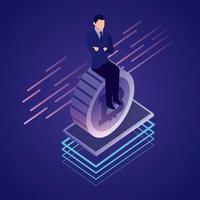 Uomo d'affari bitcoin della rete dati
