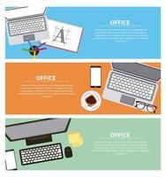 Set di banner di lavoro in ufficio