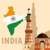 poster di festa dell'indipendenza indiana con bandiera mappa e jama masjid vettore