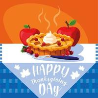torta con mele per il giorno del ringraziamento in tavola vettore