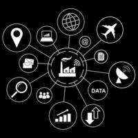 Concetto di industria 4.0, fabbrica intelligente con set di icone di affari vettore
