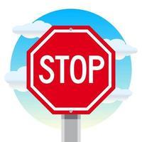 Fermi il segnale stradale con il fondo del cielo nuvoloso vettore