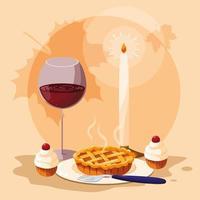 torta con bicchiere di vino per il giorno del ringraziamento