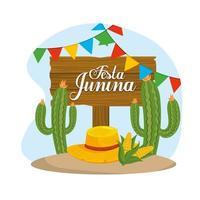 emblema in legno con pianta di cactus e cappello al festival