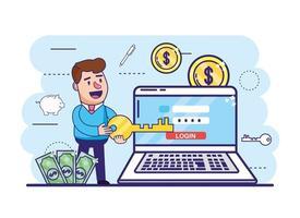 uomo con chiave e laptop con banca digitale