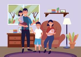 uomo e donna sulla sedia con figlia e figli vettore