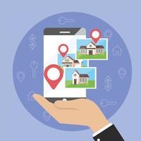 uomo d'affari con posizione sulla mappa dello smartphone e case di proprietà
