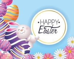 decorazione delle uova di Pasqua con coniglio ed etichetta vettore