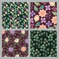 Set di sfondi floreali vettore