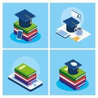 istruzione online imposta icone vettore