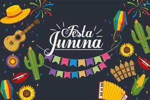 banner del partito per la celebrazione della festa junina vettore