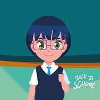 simpatico ragazzino studente in poster torna a scuola vettore