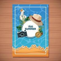 Ciao carta di estate su fondo di legno vettore