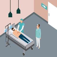 medico che controlla uomo nel letto di ospedale vettore