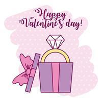 carta di San Valentino con anello di diamanti in confezione regalo vettore