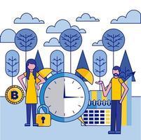 donna e uomo con grande orologio, calendario e bitcoin