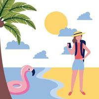 turista donna sulla spiaggia vettore