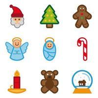 Set di icone di Natale di colore vettore