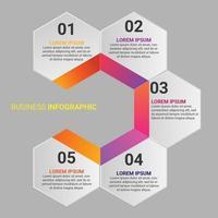 Elemento di infografica affari gradiente esagonale con opzione o passaggi