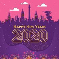 Felice anno nuovo sfondo della città