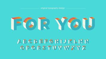 Design tipografia grassetto 3D blu chiaro arancione