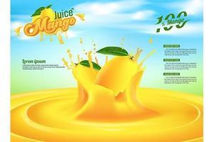Progettazione del modello di vettore degli annunci dell'insegna di pubblicità del succo del mango