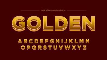 Golden Bold 3D Shadow Font artistico vettore