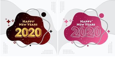 Felice anno nuovo 2020 set sfondo liquido vettore