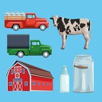 Set di fattoria dei cartoni animati vettore