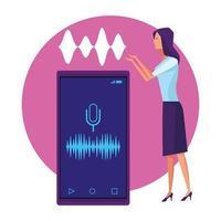Donna che utilizza il riconoscimento vocale vettore