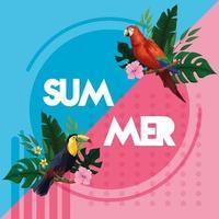 Scheda del manifesto di estate con uccelli esotici e foglie tropicali con fiori