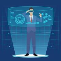 uomo d'affari con gli occhiali di realtà virtuale vettore