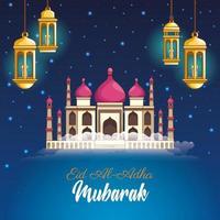 Mubarak festival dei musulmani con lanterne e moschea di notte vettore