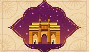 Architettura nazionale della costruzione del monumento dell'India con cielo notturno
