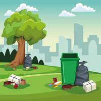 Scenario di lattine e sacchetti per la pulizia del parco