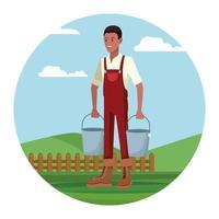 Coltivatore che lavora nel campo che tiene il fumetto dei secchi del latte