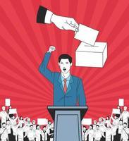 uomo che fa un discorso e un pubblico con cartello e voto