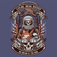 Cranio di astronauta con la volpe vettore
