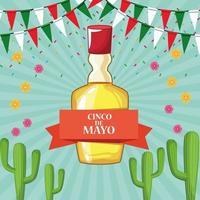 Scheda di celebrazione del cinco de mayo in Messico con tequila vettore