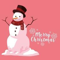 Saluto del pupazzo di neve di Natale vettore