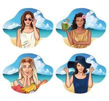 Donne pop art con abiti alla moda, cocktail di cocco e frutta vettore