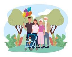 uomo e donna con il loro bel figlio e i genitori vettore