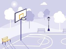campo da basket e parco icona isolata vettore