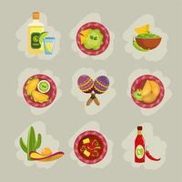 set cibo messicano tradizionale con salse e avocado vettore
