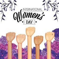 mani in alto con rose e piante per il giorno delle donne