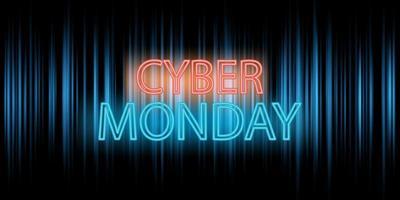 Banner design Cyber Monday con scritte al neon